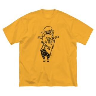 おじさまネコ(マジシャン/白黒) Big silhouette T-shirts
