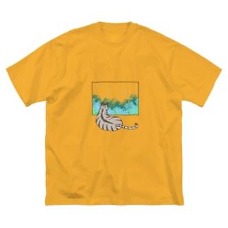 殿と梅雨/猫 Big silhouette T-shirts