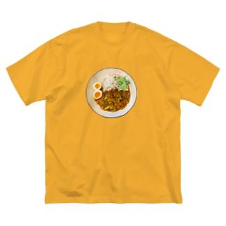 朝カレーハムキャベツ Big silhouette T-shirts