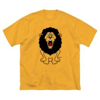 吠えるライオン(モノクロ) Big silhouette T-shirts