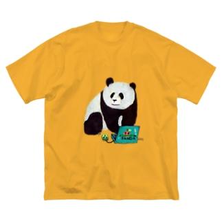 IT系のパンダ Big silhouette T-shirts