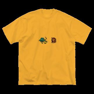shibabashiの台湾虎と台湾龍 Big silhouette T-shirts