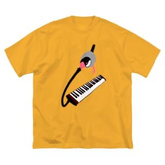 文鳥音楽隊 ピアニカ Big silhouette T-shirts