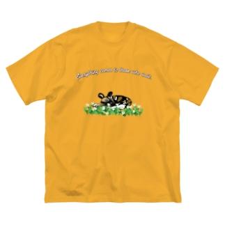 果報を寝て待っているリカオン Big silhouette T-shirts
