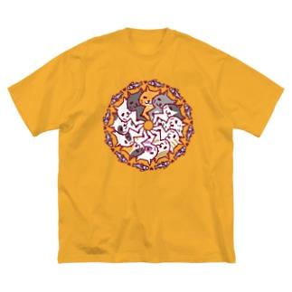 にゃーにゃーぐるぐる Big silhouette T-shirts