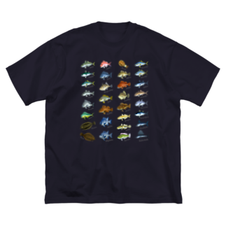 猫と釣り人のSaltwater fish_1W Big silhouette T-shirts