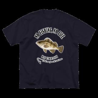 猫と釣り人のMEBARU_6_4C Big silhouette T-shirts