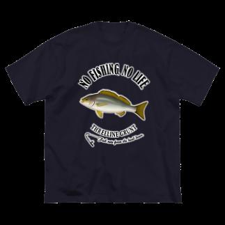 猫と釣り人のISAKI_6_4C Big silhouette T-shirts