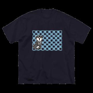 真希ナルセ(マキナル)の黒柴(ゆるタイル) Big silhouette T-shirts