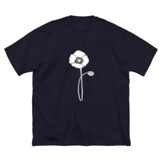 アネモネホワイト Big silhouette T-shirts