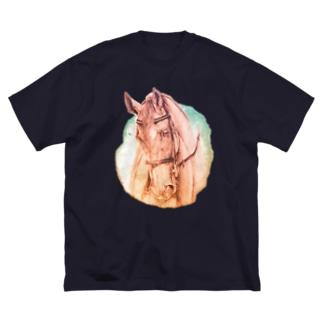 サラブレッドのお顔Tシャツ Big silhouette T-shirts