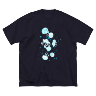 Shop&Gallery mintakaの水彩クラゲ 飛沫あり Big silhouette T-shirts