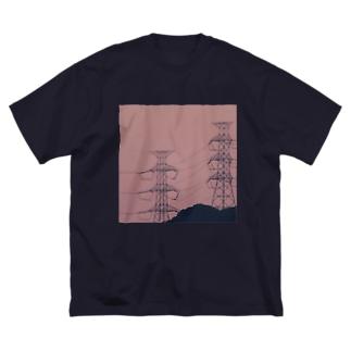 電線 Big silhouette T-shirts