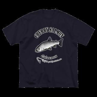 猫と釣り人のSAKURAMASU_6_C Big silhouette T-shirts