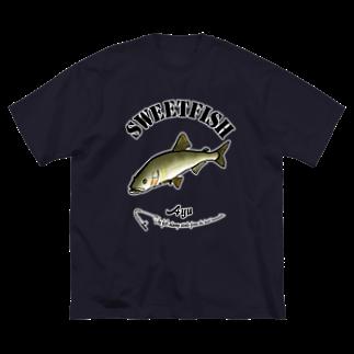 猫と釣り人のAYU_6_C Big silhouette T-shirts