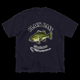 猫と釣り人のBLACK BASS_6_C Big silhouette T-shirts