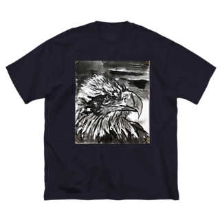 天空を司る鳥の王者【鷲】 Big silhouette T-shirts