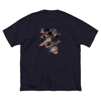 ブラシストロークモノクロドライフラワー  Big silhouette T-shirts