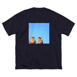 青空とスズメ Big silhouette T-shirts