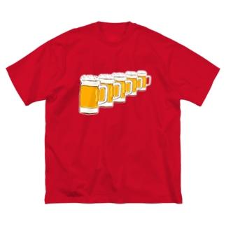 この夏おすすめ!ビール大好き人間専用デザイン「ビールがずらり!」 Big silhouette T-shirts