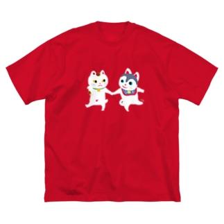 TOYTOY<犬張り子と招き猫> Big silhouette T-shirts