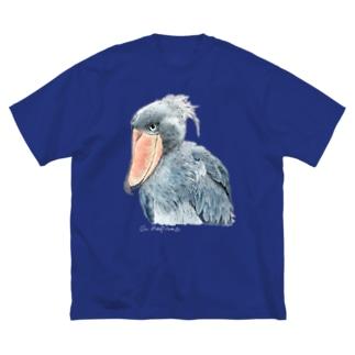 ハシビロコウ カラー ビッグシルエット 濃色T  Big silhouette T-shirts