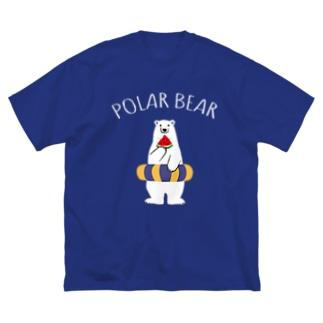 シロクマとスイカと浮き輪 Big Silhouette T-Shirt
