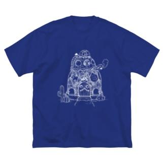 かめさんカフェへようこそ 白線 Big silhouette T-shirts
