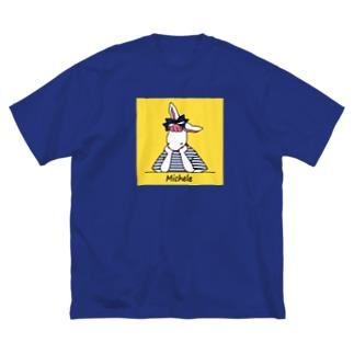 BonBonの考えごとをするミシェル(背景あり) Big silhouette T-shirts