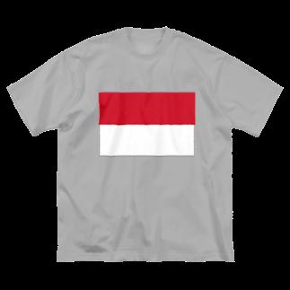 絵文字のおみせの赤と白 Big silhouette T-shirts