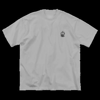 つっこみ処のねこ星人、黒、両面 Big silhouette T-shirts
