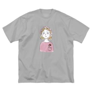 ポケットに一輪挿し Big silhouette T-shirts