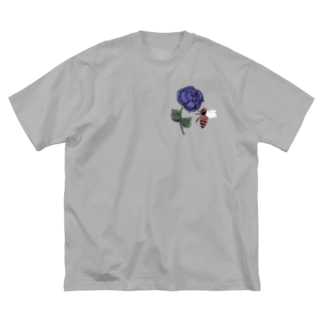薔薇と蜂 青 Big silhouette T-shirts