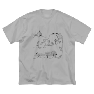 石川ともこのロバの道 Big silhouette T-shirts