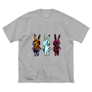 色移りうさぎさんたち Big silhouette T-shirts