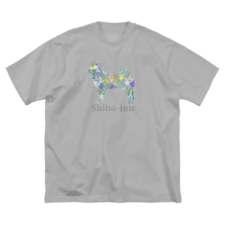 ボタニカル 柴犬 Big silhouette T-shirts