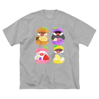 ぎゅっ♪マカロン文鳥ず Big silhouette T-shirts