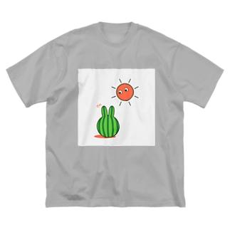 スイカうさぎ Big silhouette T-shirts