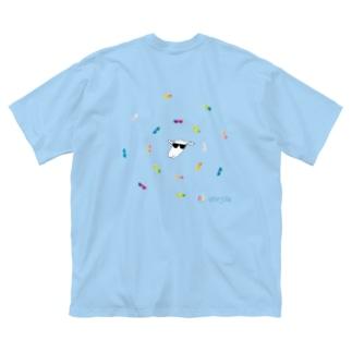 グラサンひーじゃー カラフル Big silhouette T-shirts