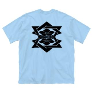 桔梗紋 黒 Big Silhouette T-Shirt