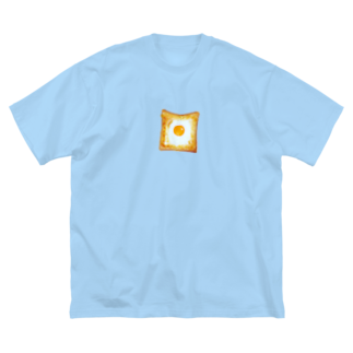 うさぎちゃんアイランドのマヨで囲って卵を落としたトースト Big silhouette T-shirts