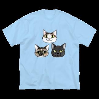 真希ナルセ(マキナル)のネコ3匹 Big silhouette T-shirts