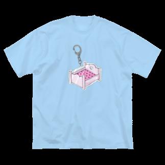 うさちゃん天使のベッド Big silhouette T-shirts
