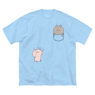 ラブカップルポケット♡くま Big silhouette T-shirts