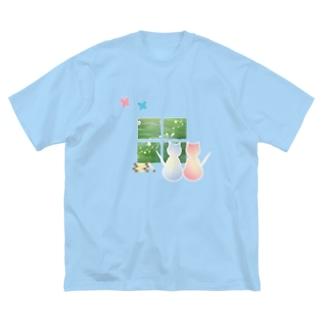 ねこと蝶 Big silhouette T-shirts