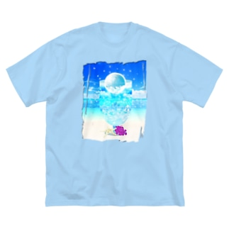 海と空色のcream soda🍹(背景あり) Big silhouette T-shirts