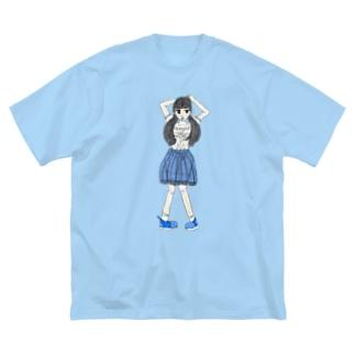 ブルーな女の子 Big silhouette T-shirts