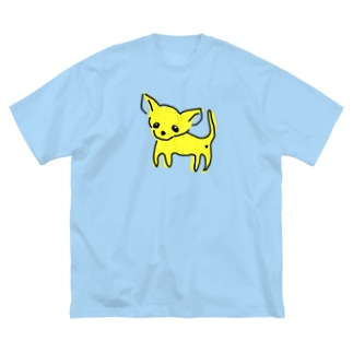 ゆるチワワ(イエロー) Big silhouette T-shirts