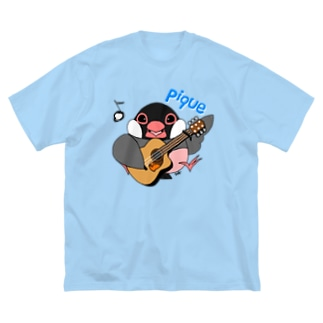 文鳥音楽ピケ(ピケ、ギターver) Big silhouette T-shirts