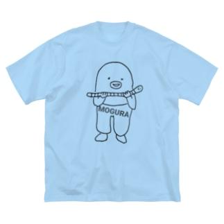 もぐら✕みみず Big silhouette T-shirts